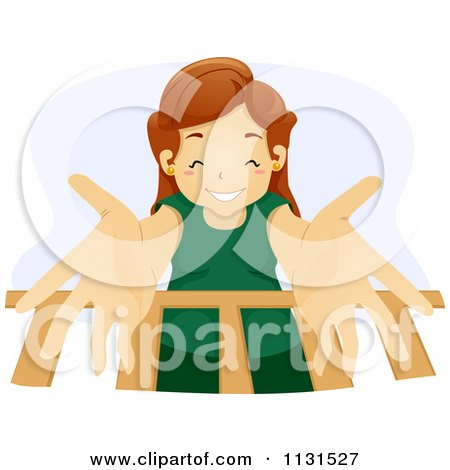 Cartoon Of A Happy Mother Reaching Down Into A Baby Crib - Royalty Free Vector Clipart by BNP Design Studio