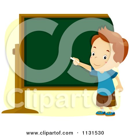 Cartoon Of A School Boy Pointing To A Chalk Board - Royalty Free Vector Clipart by BNP Design Studio