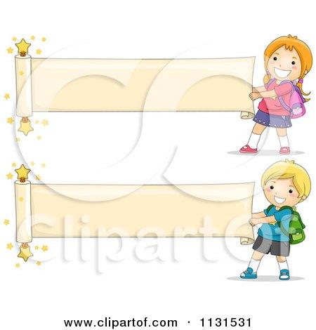 Cartoon Of School Children Unrolling Paper Banners - Royalty Free Vector Clipart by BNP Design Studio