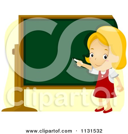 Cartoon Of A School Girl Pointing To A Chalk Board - Royalty Free Vector Clipart by BNP Design Studio