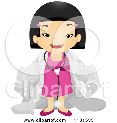 Cartoon Of A Happy Asian Girl In A Doctor Suit - Royalty Free Vector Clipart by BNP Design Studio