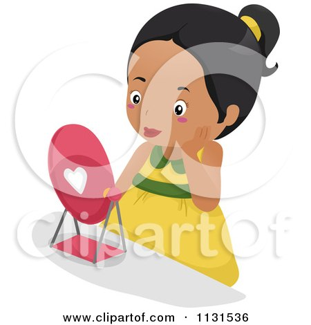 Cartoon Of A Pretty Black Girl Wearing Makeup And Looking In A Mirror - Royalty Free Vector Clipart by BNP Design Studio