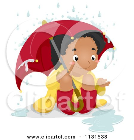 Cartoon Of A Happy Black Girl Sitting In The Rain Under An Umbrella - Royalty Free Vector Clipart by BNP Design Studio