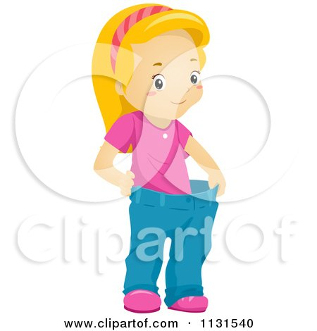Cartoon Of A Thin Girl Displaying Weight Loss In Her Fat Pants - Royalty Free Vector Clipart by BNP Design Studio