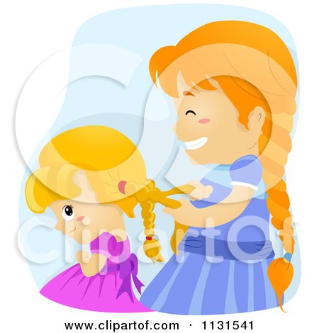 Cartoon Of A Big Sister Helping A Girl Braid Her Hair - Royalty Free Vector Clipart by BNP Design Studio
