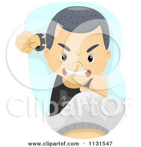 Cartoon Of An Angry Asian Boy Bullying - Royalty Free Vector Clipart by BNP Design Studio