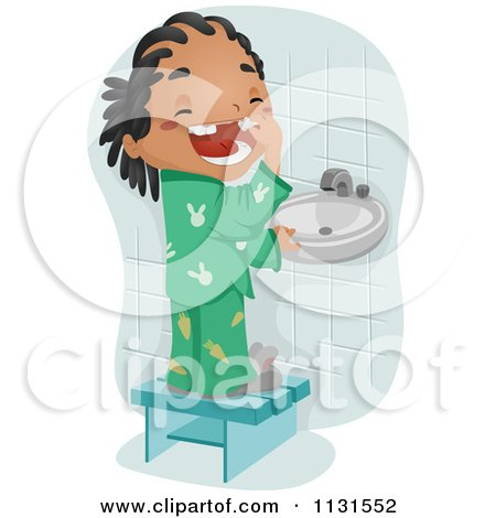 Cartoon Of A Black Boy Showing His Loos Tooth - Royalty Free Vector Clipart by BNP Design Studio