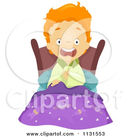 Cartoon Of A  |Scared Boy Screaming In Bed From A Nightmare Royalty Free Vector Clipart by BNP Design Studio
