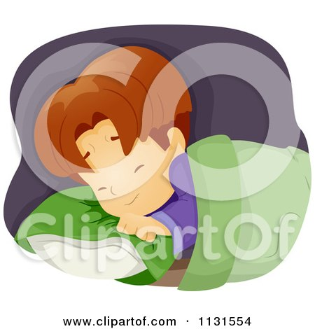 Cartoon Of A Boy Clutching His Pillow While Having A Nightmare - Royalty Free Vector Clipart by BNP Design Studio
