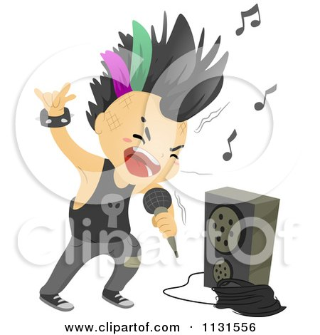 Cartoon Of A Punk Rock Boy Singing By An Amp - Royalty Free Vector Clipart by BNP Design Studio