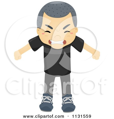 Cartoon Of An Angry Asian Boy - Royalty Free Vector Clipart by BNP Design Studio