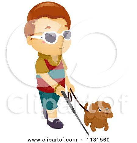 cartoon of a blind boy walking with a dog and cane