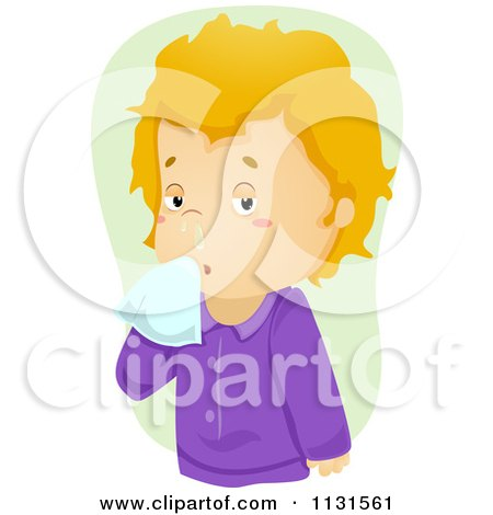 Cartoon Of A Sick Boy With A Runny Nose - Royalty Free Vector Clipart by BNP Design Studio