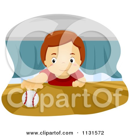 Cartoon Of A Boy Reaching For A Baseball Under A Bed - Royalty Free Vector Clipart by BNP Design Studio