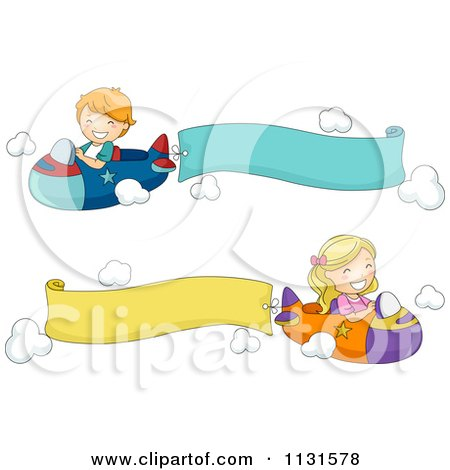 Cartoon Of Children Flying Planes With Banners - Royalty Free Vector Clipart by BNP Design Studio