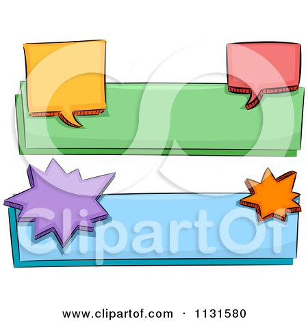 Cartoon Of Colorful Chat Balloon Banners 2 - Royalty Free Vector Clipart by BNP Design Studio