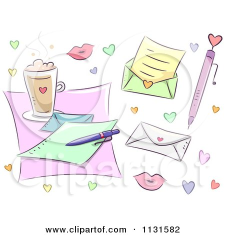 Cartoon Of Love Letter Design Elements And Hearts - Royalty Free Vector Clipart by BNP Design Studio