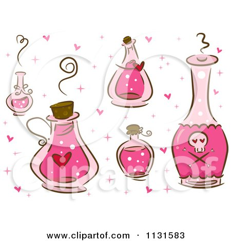 Cartoon Of Pink Love Potion Bottles - Royalty Free Vector Clipart by BNP Design Studio