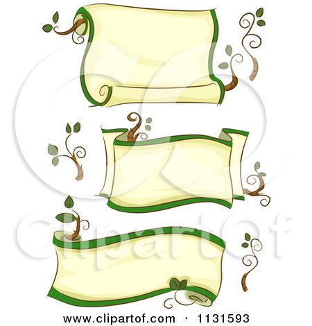 Cartoon Of Ecology Scroll Banenrs - Royalty Free Vector Clipart by BNP Design Studio