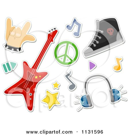 Cartoon Of Rock And Roll Design Elements - Royalty Free Vector Clipart by BNP Design Studio