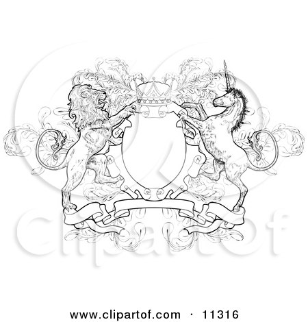 Crown, Lion, and Unicorn on a Coat of Arms Clipart Illustration by AtStockIllustration