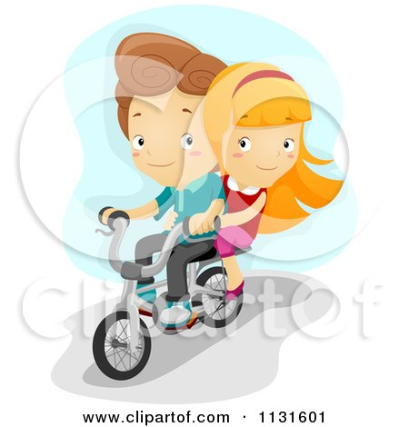 Cartoon Of A Boy And Girl Riding A Bike Together - Royalty Free Vector Clipart by BNP Design Studio
