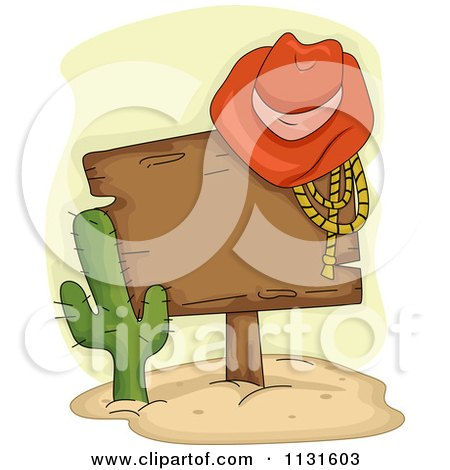 Cartoon Of A Cowboy Hat And Rope On A Wood Sign By A Cactus - Royalty Free Vector Clipart by BNP Design Studio