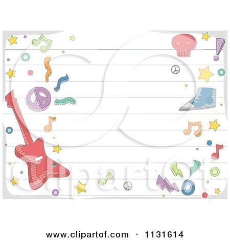 Cartoon Of A Ruled Paper And Music Doodle Background - Royalty Free Vector Clipart by BNP Design Studio