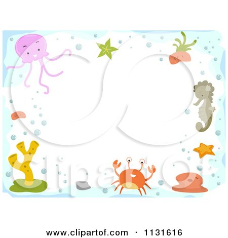 Cartoon Of A Border Of Sea Creatures And Copyspace - Royalty Free Vector Clipart by BNP Design Studio