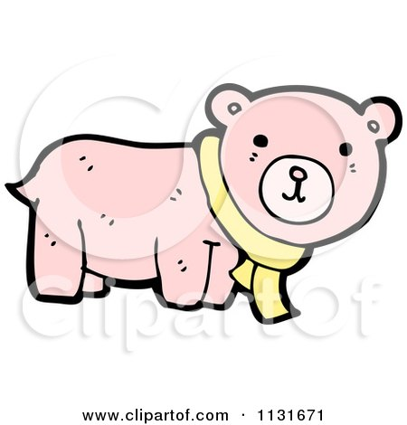 Cartoon Of A Pink Bera With A Yellow Scarf - Royalty Free Vector Clipart by lineartestpilot