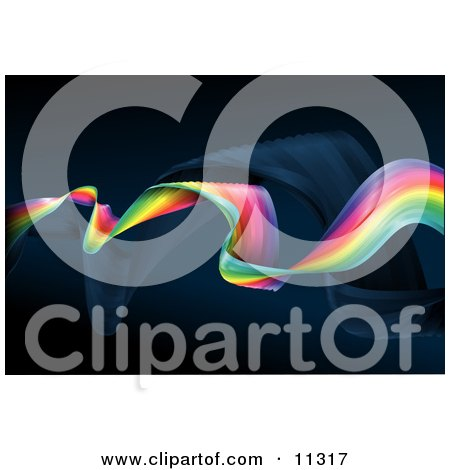 Twisting and Twirling Rainbow Over a Dark Background Clipart Illustration by AtStockIllustration