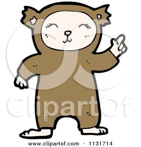 Cartoon Of A Kid In A Bear Costume - Royalty Free Vector Clipart by lineartestpilot