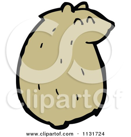 Cartoon Of A Sitting Hamster 1 - Royalty Free Vector Clipart by lineartestpilot
