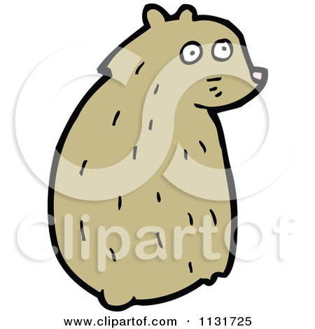 Cartoon Of A Sitting Hamster 2 - Royalty Free Vector Clipart by lineartestpilot