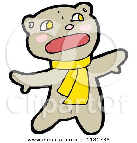 Cartoon Of A Bear In A Scarf 1 - Royalty Free Vector Clipart by lineartestpilot