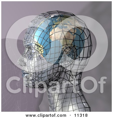 Futuristic Human Head in Profile With a Globe Inside the Brain Clipart Illustration by AtStockIllustration