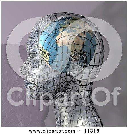 Futuristic Human Head in Profile With a Globe Inside the Brain Posters, Art Prints