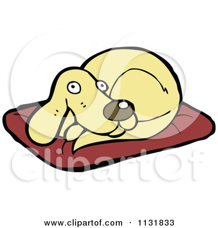 Cartoon Of A Dog Resting On A Pillow 2 - Royalty Free Vector Clipart by lineartestpilot
