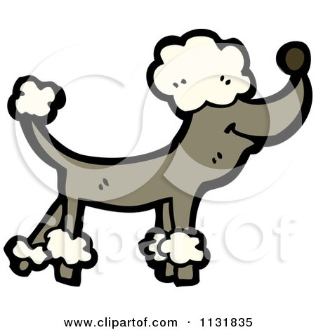 Cartoon Of A Brown Poodle - Royalty Free Vector Clipart by lineartestpilot