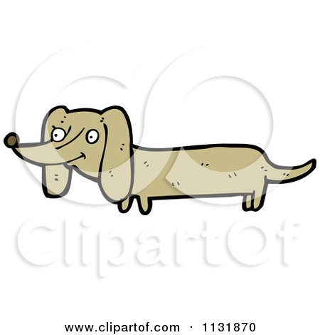 Cartoon Of A Weiner Dog - Royalty Free Vector Clipart by lineartestpilot