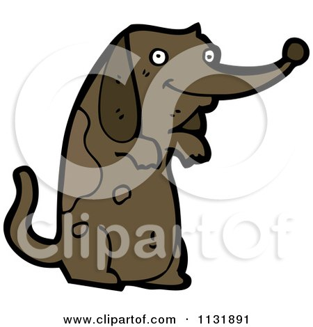 Cartoon Of A Begging Brown Pooch Dog - Royalty Free Vector Clipart by lineartestpilot
