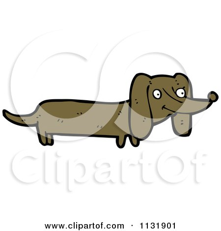 Cartoon Of A Doxie Dog - Royalty Free Vector Clipart by lineartestpilot