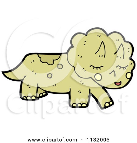 Cartoon Of A Triceratops Dinosaur - Royalty Free Vector Clipart by lineartestpilot