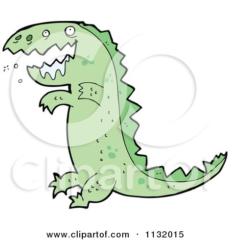 Cartoon Of A Drooling Green T Rex Dinosaur - Royalty Free Vector Clipart by lineartestpilot