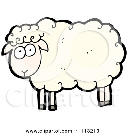 Cartoon Of A White Sheep - Royalty Free Vector Clipart by lineartestpilot