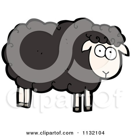 Cartoon Of A Black Sheep - Royalty Free Vector Clipart by lineartestpilot