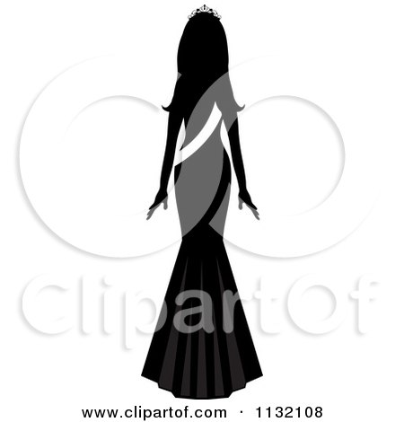 Clipart Of A Silhouetted Miss America Beauty Pageant Winner With A Sash - Royalty Free Vector Illustration by Pams Clipart