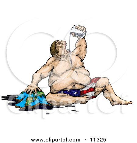 Greedy Fat Man, Personification of America, Gulping Earth's Natural Oil Resources Posters, Art Prints