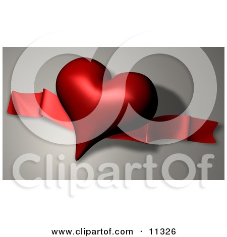 Dark Red Heart Shaped Balloon and Ribbon on Valentines Day Clipart Illustration by AtStockIllustration