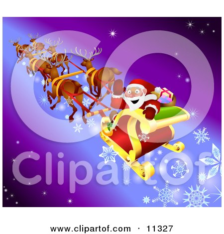 Santa Waving While Flying by in His Sleigh With His Reindeer Posters, Art Prints